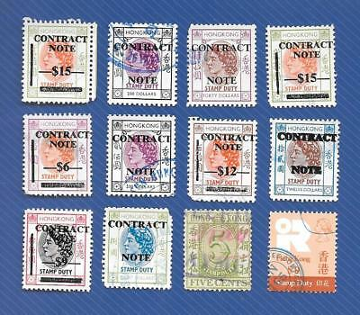 """Mixed Eras Hong Kong { Contract Note / Duties To $200 } """" Lot Of 12 """" Used"""