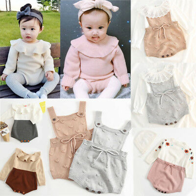 Boutique Newborn Baby Girls Knitted Romper Jumpsuit Sweater Outfit Clothes UK