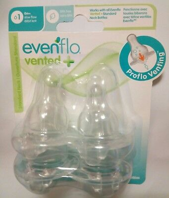 Evenflo Proflo Venting Slow Flow Nipple 4-Pack Clear Bottle Nipples 0+ months