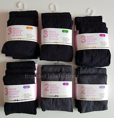 Primark Girls Back To School Tights, Black 40 / 80 Grey 60 Denier Opaque Tights