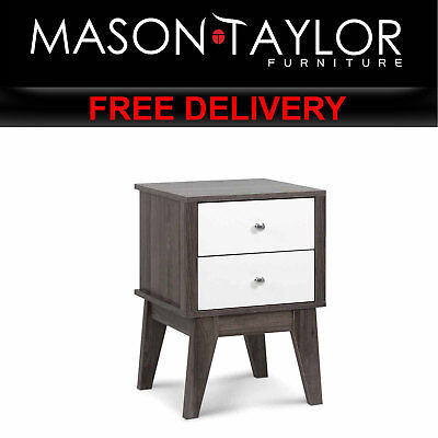 MT Bedside Table with Drawers - White & Dark Grey  FURNI-F-TONI-04-WH AU