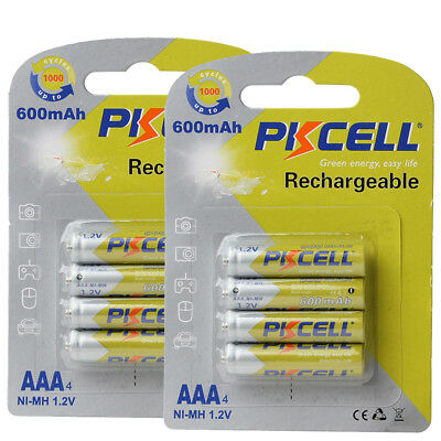 Pack of 8  1.2V AAA 600mAh Ni-MH rechargeable batteries For Remote Controls