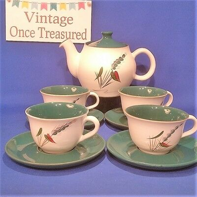 Denby Greenwheat Tea Set for 4 - 9 Pieces including Teapot, Cups, Saucers