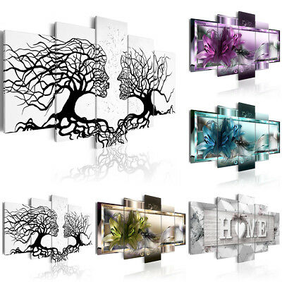 5 Panel Canvas Print Modern Picture Wall Art Decor Home Abstract Flower UnFramed