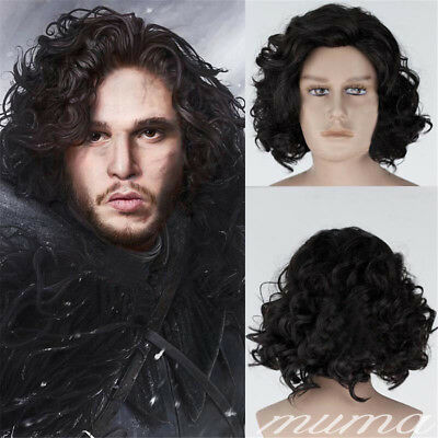 Game of Thrones Jon Snow Black Short Curly Wig Synthetic Cosplay Anime Wigs UK