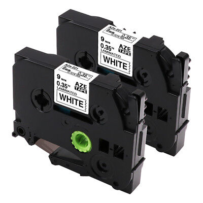 2PK TZe 221 Compatible Brother P-Touch Label Tape Black on White 9mm Label Maker