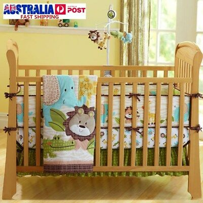 7Pcs Baby Bedding Crib Cot Quilt Set Nursery Bumper Sheet Dust Ruffle Blanket AU