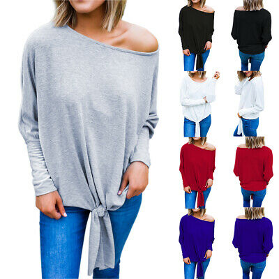 UK Womens One Shoulder Long Sleeve Tops Blouse Ladies  Casual Plus Size T shirt
