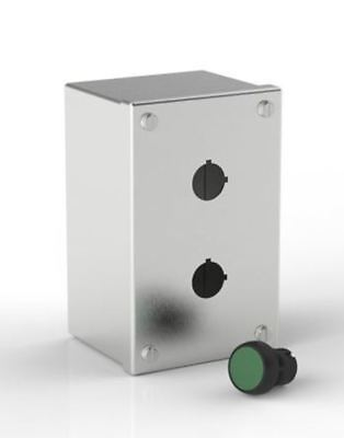 RS Pro Push Button Enclosure, 2 Hole, 22.5mm diameter Stainless Steel