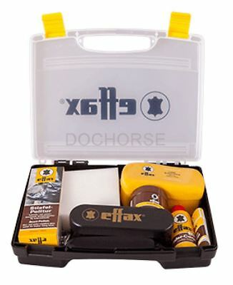 Effax Leather Care Kit - Selection of leather care products in carry case - BN