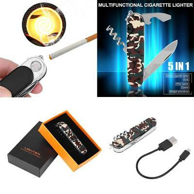 5 in 1 USB Flameless Rechargeable Cigarette Lighter Wine Opener Camp Knife Gifts