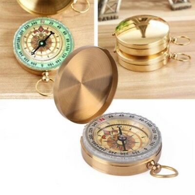 Pocket Brass Compass Watch Style Outdoor Camping Hiking Navigation Keychain