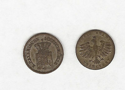 1855 And 1866 Austria 1 Kruezer Coins