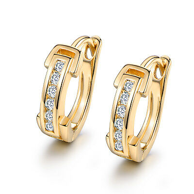 Huggie Clear Crystal Sapphire Inlay Yellow Gold Filled Women Lady Hoop Earrings