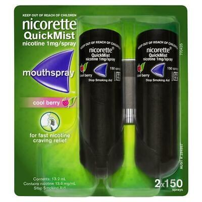 New Nicorette Quick Mist Mouth Spray Cool Berry Duo 2 x 150