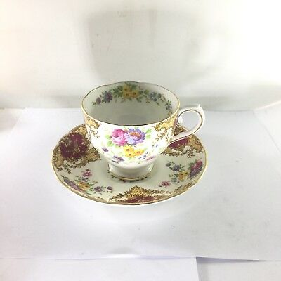 Vtg Tuscan Fine English Bone China Porcelain Provence Flowers Cup & Saucer Set