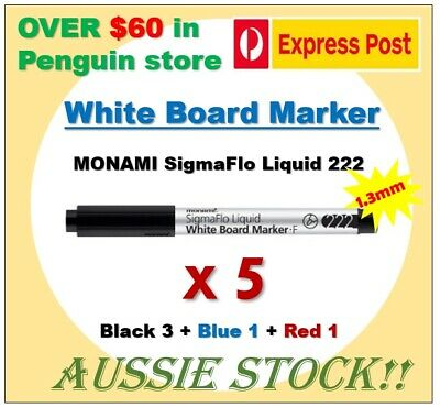 5 x Whiteboard markers, Monami SigmaFlo Liquid 222, 1.3mm, Black(3)Blue(1)Red(1)