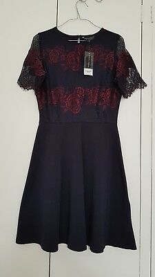 Brand New Burgendy Red & Dark Navy Cotton & Lace Dress By Dorothy Perkins 10