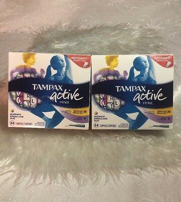 2~~Tampax Active Pearl Triple pack Unscented Variety Pack, 34 Tampons