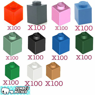 New Lego 100 1x1 Brick 3005 Choose Your Colour-Lime//Grey//Green//Red//Yellow