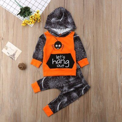 Halloween 2 Pcs Newborn Kids Baby Spider Hoodie Outfit Size 0-3T (Free Shipping)