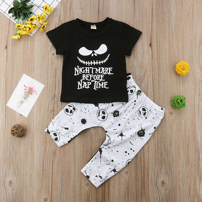 Halloween Baby Nightmare Before Naptime Halloween 2 PCS Outfit (Free Shipping)