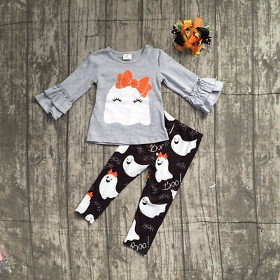 Cute Ghost Halloween Baby Girls 2 PCS Outfit  Sizes 0-4T (Free Shipping)
