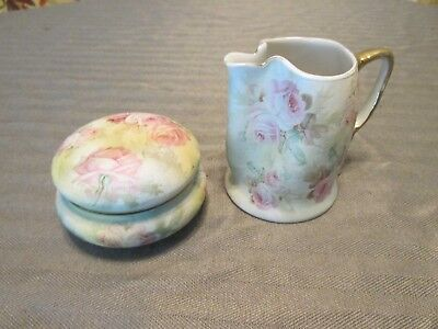 Beautiful Royal Bayreuth Bavaria ROSE TAPESTRY Dresser Trinket Jar & Creamer