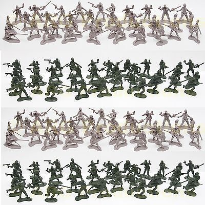 100 Pcs Army Men Toy Soldiers Military Force Green Plastic Figurine Figure