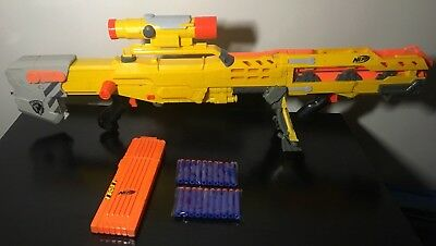 Nerf Strike Elite Long Shot CS 6 Rifle With Scope, Ext Mags, 20 New Darts,Bipod