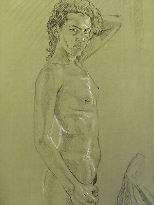 Nude Study.Original Naked Drawing,Chalk Highlights of Striking Androgynous Model