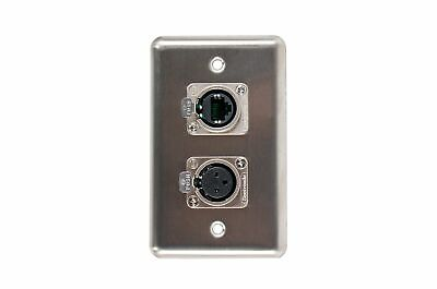 """NEW ProCraft White Stainless Steel 2 Gang Wall Plate// AC Duplex 1 XLR /""""D/"""" Style"""
