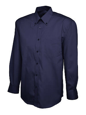 Mens Pinpoint Oxford Branded Long Sleeve Shirt- Button Down Collar. 7 color-701