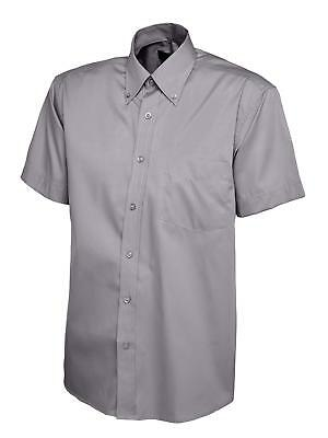 Mens Pinpoint Oxford Half Sleeve Shirt White Black Blue Charcoal S to 3XL -702
