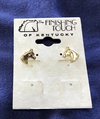 The Finishing Touch Of Kentucky:  Tiny Golden Arabian Horse Head Earrings
