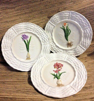 "3 Embossed Floral Plates WORLD MARKET 11"" Flower Bulb Basket Weave Kitchen Decor"