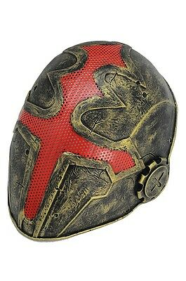 Full Face Wire Mesh Protection Airsoft Paintball Cross Mask PROP Red Golden F610