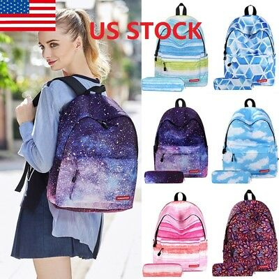 1Pcs Women Girls Student Canvas Backpack Travel Schoolbag Student's Book Bag Ds