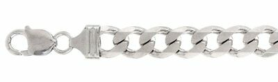 300-11MM Flat Curb Heavy 925 sterling silver Chain Made In Italy