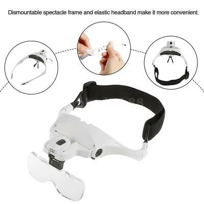 5 Lens Headset Magnifier Magnifying Glass Eyelash Extension With 2 LED Q1Y7