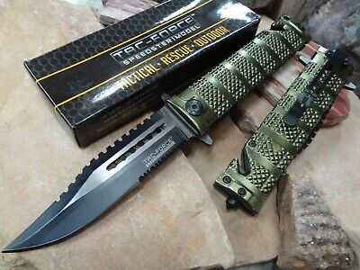TAC FORCE Spring Assisted Open SAWBACK BOWIE Tactical Rescue Pocket Knife 710GN