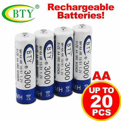 20pcs BTY AA Rechargeable Battery Recharge Batteries Ni-MH 1.2V 3000mAh