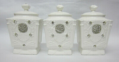 French Provincial Shabby Ceramic Tea Coffee & Sugar Bling Canisters Name Tags