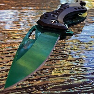"MTECH USA 8.25"" GREEN SPRING ASSISTED FOLDING TACTICAL POCKET KNIFE Open Assist"