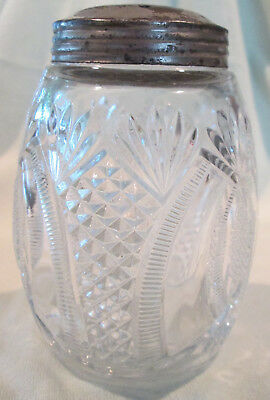 Antique EAPG Hand Blown Pineapple Pattern Molded Sugar Shaker With Original Top