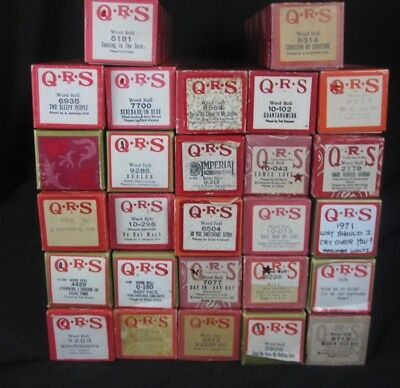 Lot of 27 QRS Piano Word Rolls - Classics, Oldies, Fun Songs Excellent Condition