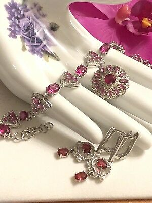 Sterling Silver.925 Pink Tourmaline Bracelet, Ring And Earrings Set.