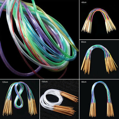 AU Colorful 18PCS/Set Smooth Bamboo Circular Knitting Needles Pins Size 40-120cm