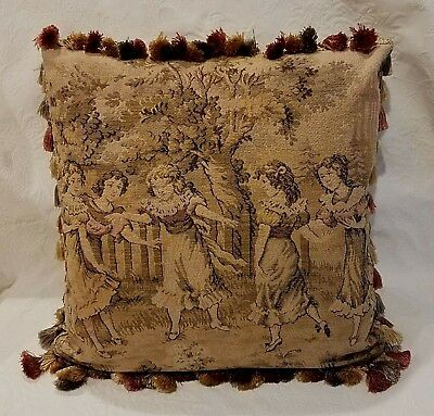 Vintage Belgian Tapestry Pillow, Children, Gold Beige Gray Rose, Newly Made