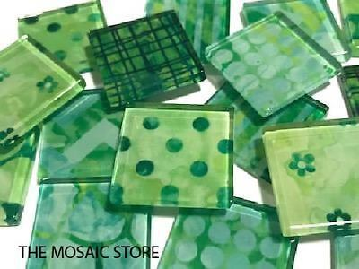 Green Patterned Glass Mosaic Tiles 2.5cm - Art Craft Supplies